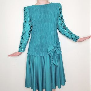 Vintage 80's Sequin Teal Party Prom Cocktail Dress